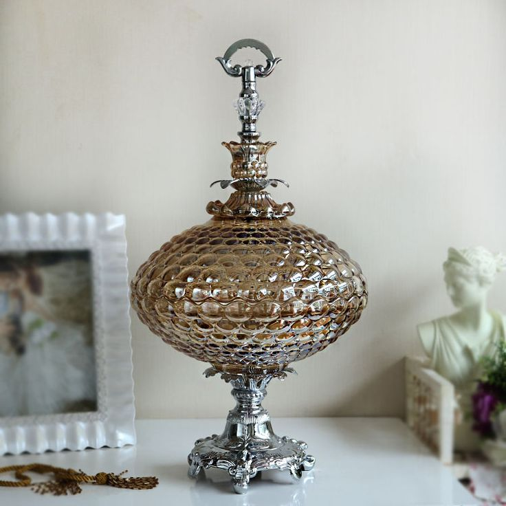 Luxury American glass compote European model room decor Home Furnishing soft practical crystal glass fruit plate size