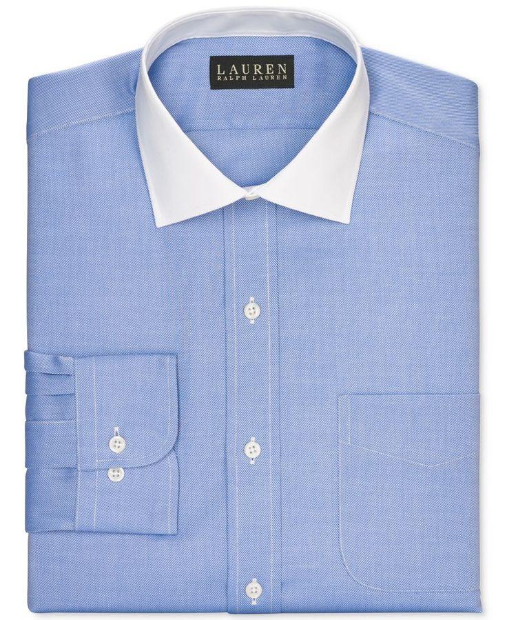 Lauren ralph lauren slim fit non iron blue solid dress for Non iron slim fit dress shirts