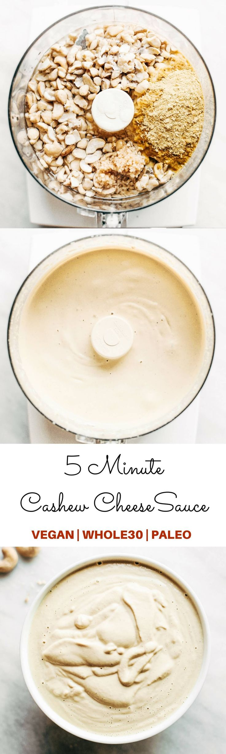 Creamy 5 minute vegan cashew cheese sauce! Whole30, paleo, and dairy free. Whipped smooth, made with raw cashews, and tastes like the perfect cheese dip for vegetables, chips, served over noodles, or licked straight off the spoon! Dairy free cheese. Dairy free Alfredo. Easy Cashew cheese. Homemade cashew cheese. easy vegan paleo cheese recipe. Best Dairy free cashew cheese recipe.