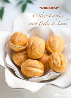 """Learn how to make """"oreshki"""" - walnut-shaped cookies filled with dulce de leche and walnuts. Follow the recipe to make the best """"oreshki"""" of your life!"""