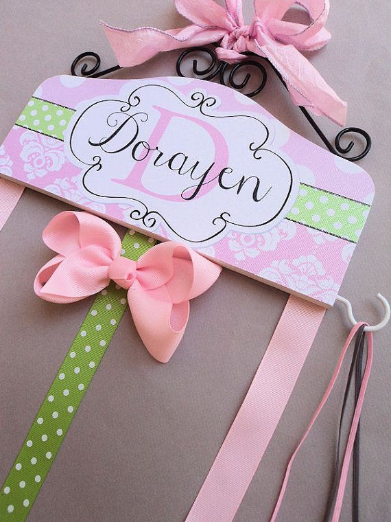 HAIR BOW HOLDER - Personalized - Pink Green Damask HairBow Holder - organizer for Bows - Bow and Clip hanger Personal Hooks for headbands