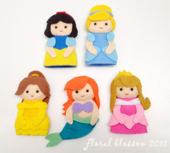 PDF Pattern Disney Princess Felt Finger Puppets by FloralBlossom