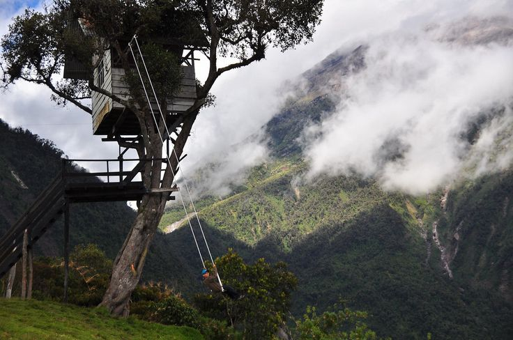 Swing at the End of the World in Baños, Ecuador