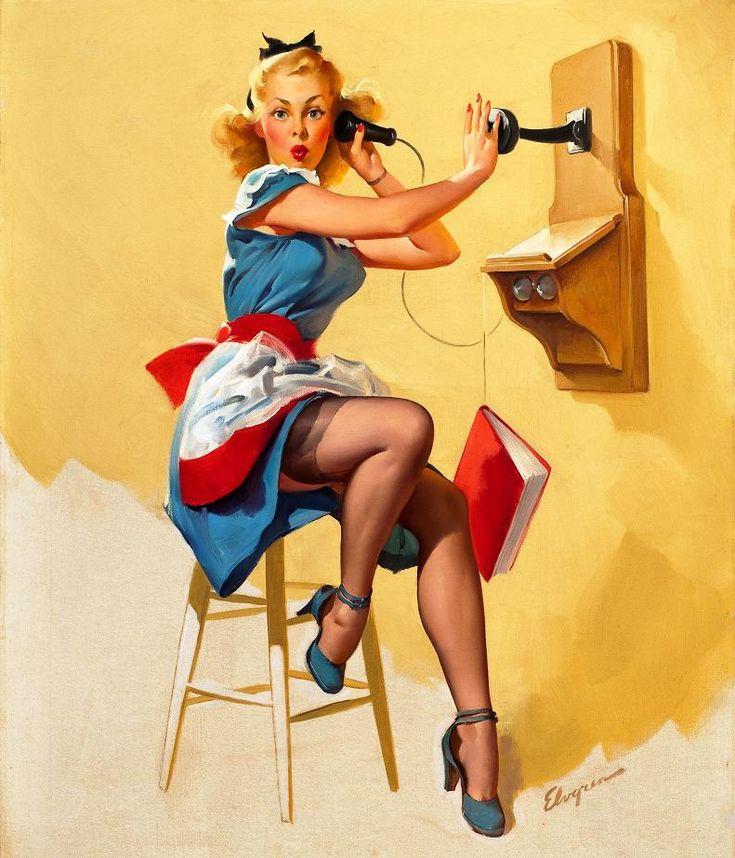 Ретро картинки девушка с телефоном, открытки днем строителя
