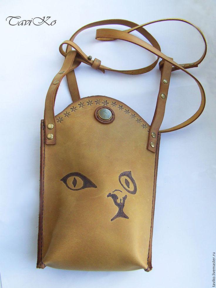 """Купить Маленькая летняя сумочка через плечо из кожи Крейзи Хорс """"Кошечка"""""""