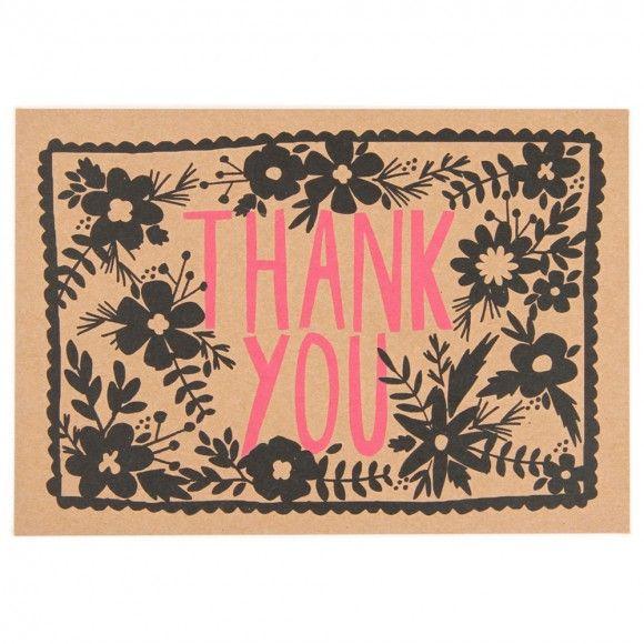 Kraft floral thank you postcard