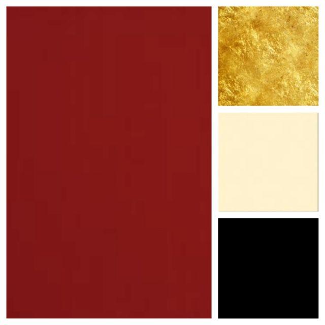 Pretty color palette. Red gold cream black ( love !! take away the gold!!)