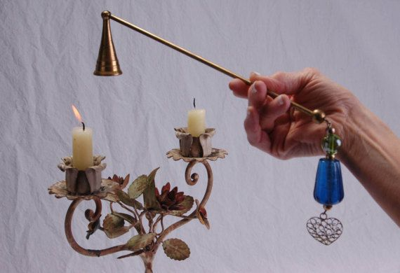 Vintage Brass Candle Snuffer Pierced Filigree Heart Blue &