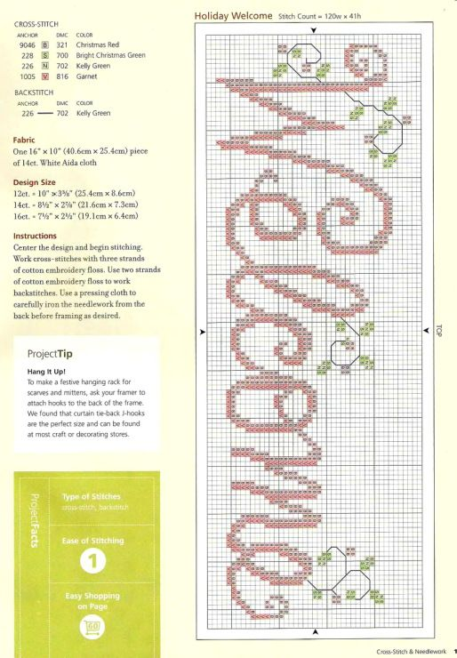 Counted cross stitch welcome; would be great in the entryway.
