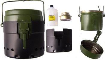 Swedish Army Alcohol Stove (Trangia) Cookset With Meths Burner, windshield, hanging pot: unbeatable set up.