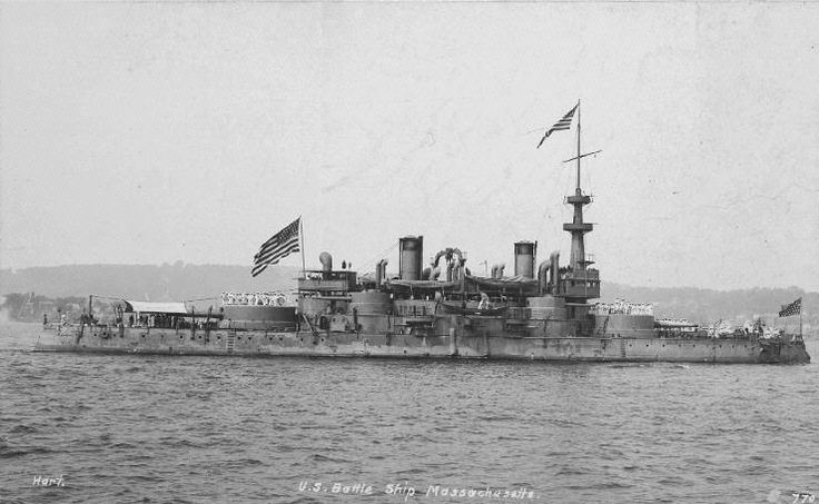 USS Massachusetts, a pre-dreadnought battleship launched in 1893.