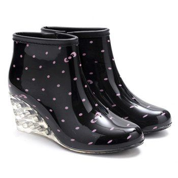 Stylish Wedge and Print Design Rain Boots For Women, BLACK, 40 in Boots | DressLily.com