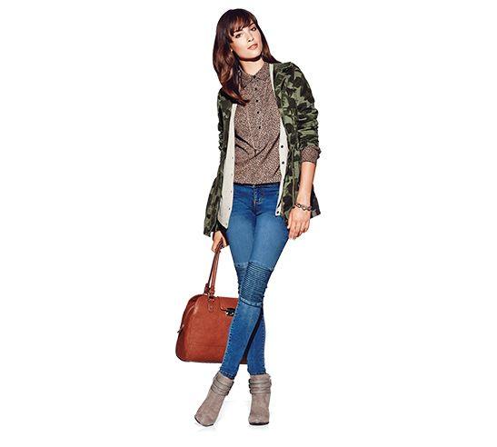 Mossimo Supply Co. Camo Jacket, $49.99, Mossimo Ultra Soft Cardigan, $24.99. Merona Favourite Blouse, $24.99. Mossimo Denim Leggings, $29.99. Sam & Libby Anya Boot, $44.99.