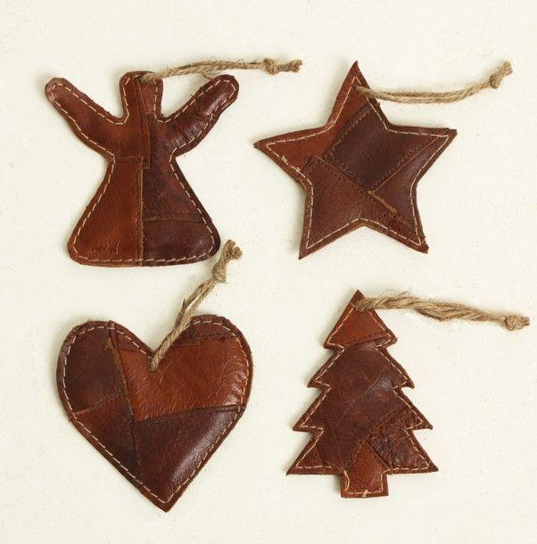 Leren kersthangers - Accessoires - Decoratie