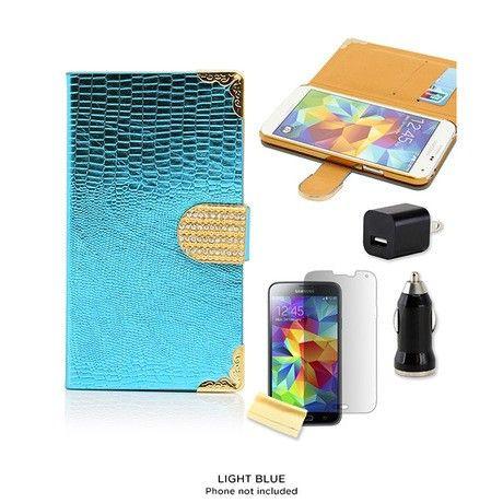 4-Piece Set: Samsung Galaxy S5 Rhinestone-Accented Wallet Case & Accessories