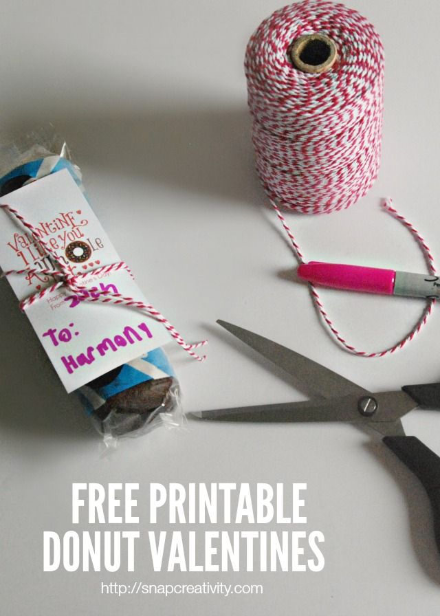 Donut Valentine's Day Free Printable Tags   @ Over the Big Moon