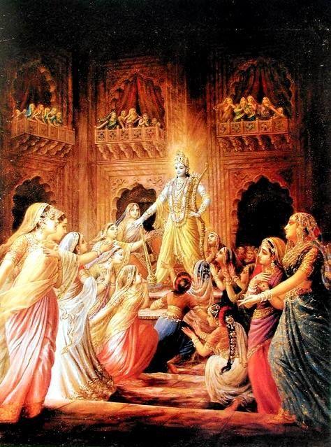 Lord Krishna rescuing the 16, 100 women captured by Narakasura,