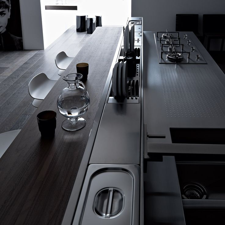 In an effort to maximize #ergonomics in the #kitchen, #Valcucine offer the equipped back section, a modular unit that can be tailored to an individual's needs. The equipped back section makes the most of the space available, with specific containers that can be removed & cleaned, and even houses plumbing & electrical connections. All Valcucine kitchens are tailored to the individual. Find out more: http://www.rogerseller.com.au/kitchen/valcucine-italian-kitchens #luxurykitchen #architect…