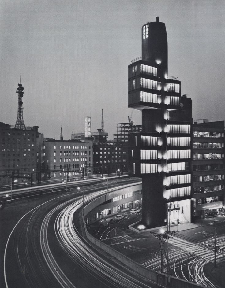 Kenzo Tange, Shizuoka Press and Broadcasting Center, Tokyo (Ginza), Japan, 1967.