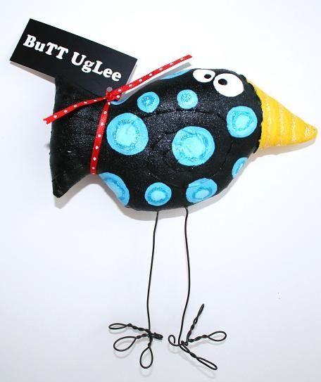 Bird NaMed Heath ... BuTT UgLee ... Black with BluE polka dots