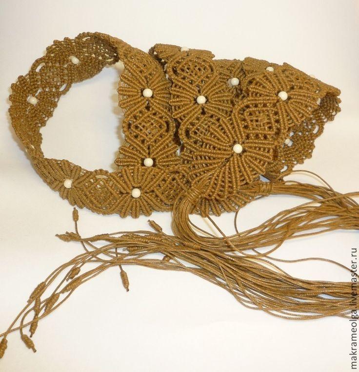 """Купить Плетеный женский пояс """"Ромашковое поле"""" - коричневый, пояс женский, пояс плетёный, плетение"""