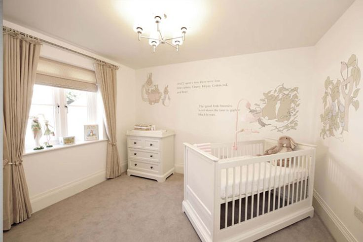 A Beatrix Potter nursery, the story of Peter Rabbit going round all 3 walls. I painted this using calming neutrals, I even painted little mice and bee's at the bottom of the skirting board, as well as the light switch.