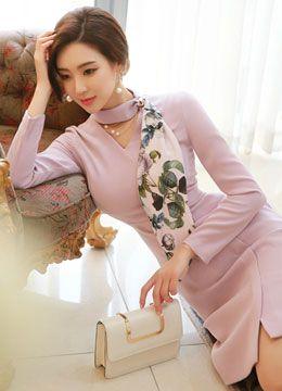 Floral Print Scarf V-Neck Wrap Dress, Styleonme