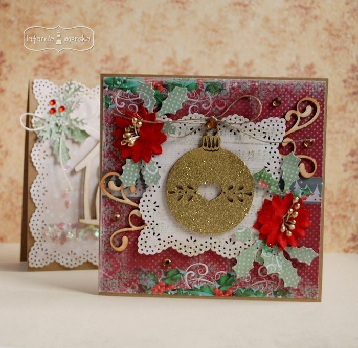 Christmas card decorated with hot embossed bauble chipboard   http://www.hurt.scrap.com.pl/bezbarwny-tusz-do-embossingu.html