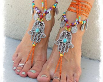 HAMSA hand BAREFOOT sandals tribal belly Dance foot jewelry ORANGE Ankle wrap sandal Ethnic Wedding Hippie Boho Toe Thong bare feet GPyoga