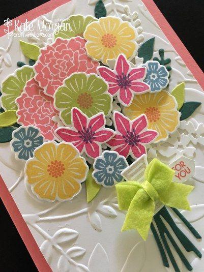 Favourite New Bundle Blog Hop: Beautiful 3D Posy card using Beautiful Bouquet Bundle by Kate Morgan, Independent Stampin' Up! Demostrator, Australia 3D DIY Feminine Handmade Card
