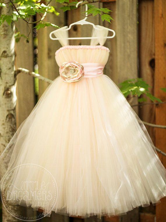 Blush Flower Girl Tutu Dress with Flower Sash by littledreamersinc, $95.00. Holy !%$%!$, I think I found a winner!