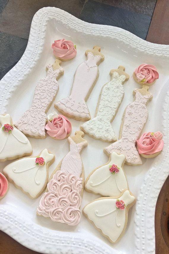 Pink and White Wedding Entourage Dress Cookies-10 by MarinoldCakes