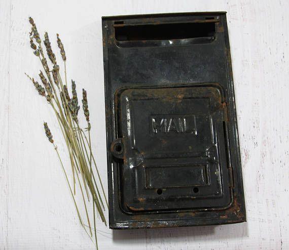 Vintage Black Metal MAILBOX House Postal Delivery Letter Box