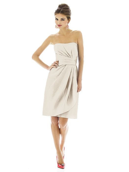 Cocktail length strapless dupioni dress w/ draped detail at bodice and front skirt. Sizes available: 00-30W, and 00-30W extra length. http://www.dessy.com/dresses/bridesmaid/D601/