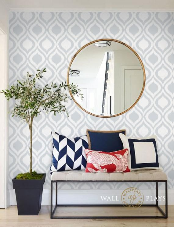 Retro Geometric Ikat Grey Pattern PEEL & STICK REPOSITIONABLE Fabric Wallpaper