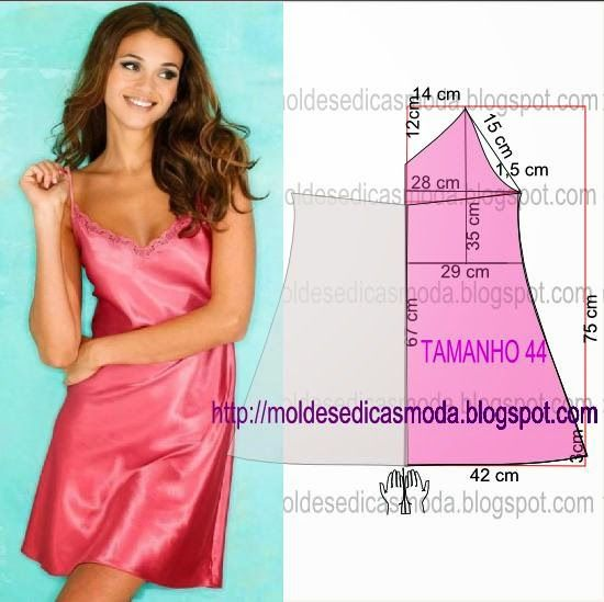Slip nightgown pattern draft {Site NOT in English} from Moldes Moda por Medida: CAMISA DE NOITE  FÁCIL DE FAZER - 1