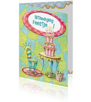 Uitnodiging Verjaardag, Ontwerp OTTI & Lorie Davison, verkrijgbaar bij Postkaarten.nl