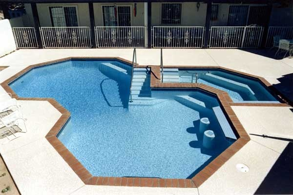 Cool geometric pool and spa awesome inground pool Handicapped accessible swimming pools