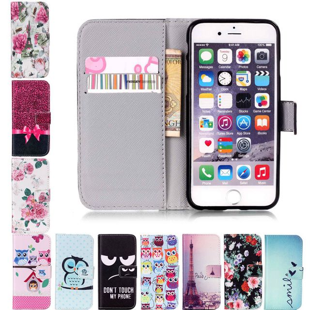 For Apple iPhone 6 6S Plus 5S 5 SE 4 4S 7 7 Plus Flip Leather Wallet Case Cartoon Flower Stand Holders Phone Cases Shell Cover