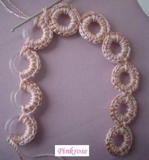 manico per borsa con anelli da tende no pattern - photo shows how its put together <3