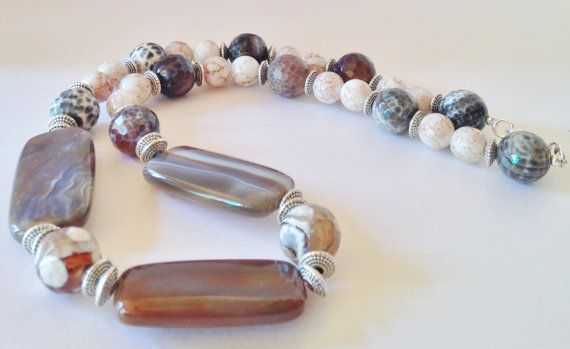 Brown Agate Necklace Botswana Agate Beaded Necklace Indian Necklace Indian Jewelry Tibetan Jewelry Gift For Her Statement Necklace