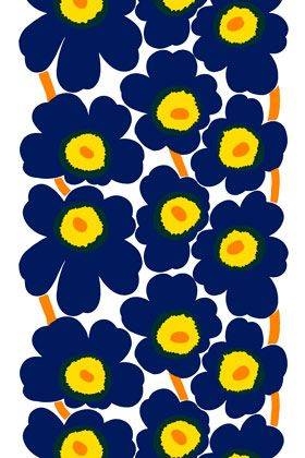 Fabric for pillows to match my couch! Maybe . . . . . $48 per yard: Unikko cotton fabric by Marimekko