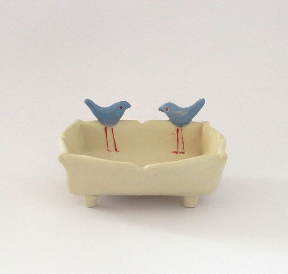 Small Ceramic Soap Dish Decorated with Blue Birds, Valentines Gift on Etsy, $28.39 CAD