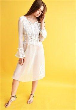 Vintage 70's sheer Boho lace white mini elegant slip dress