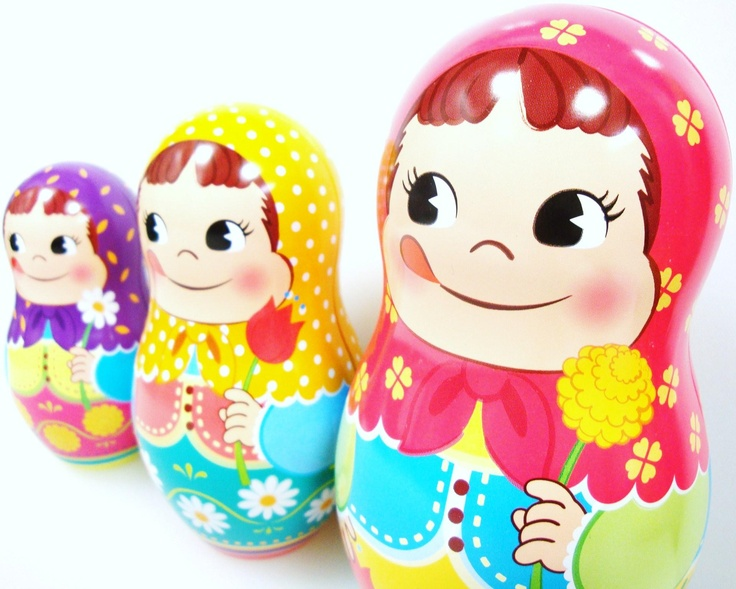 +/+ Fujiya's Peko-chan russian dolls. Candy Tin Box