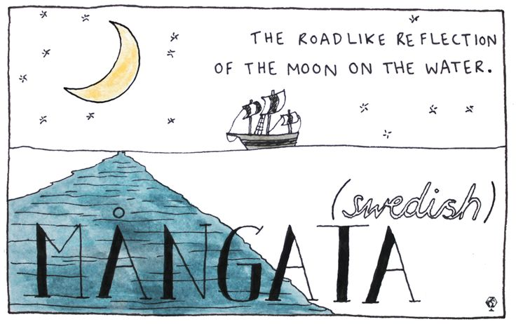 Swedish: Mångata The word for the glimmering, roadlike reflection that the moon creates on water.