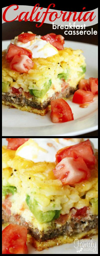 Our California Breakfast Casserole is loaded with sausage, avocados, tomatoes, hash browns, and melty cheese. The perfect easy and savory breakfast for when you get together with family and friends. via @favfamilyrecipz