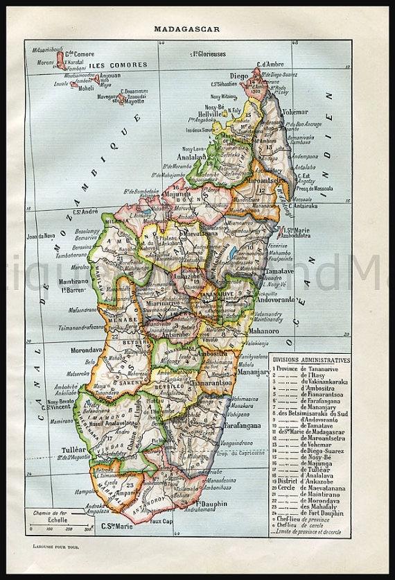 Antique map of Madagascar.
