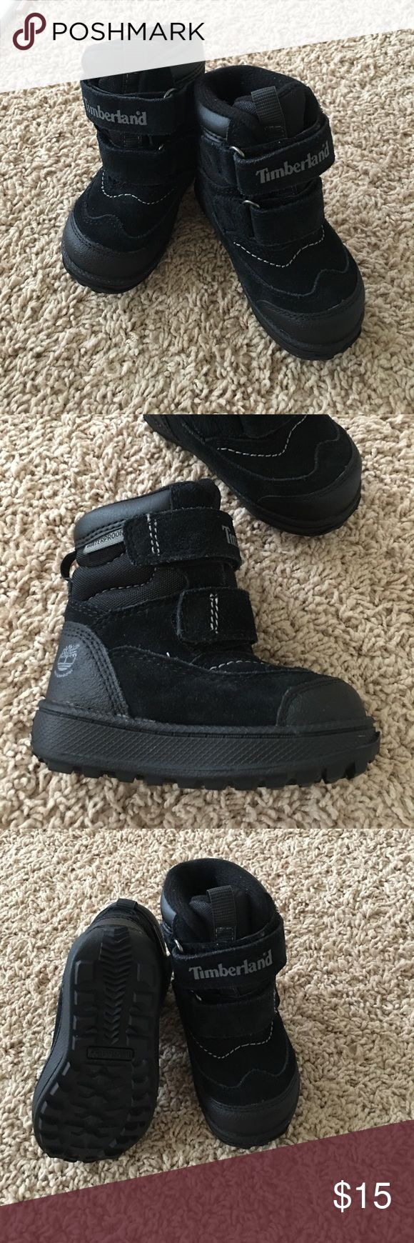 Timberland waterproof baby boots size 4.5 Black waterproof boots walker/baby. Size4.5. Easy to put on. Like new. Timberland Shoes Boots