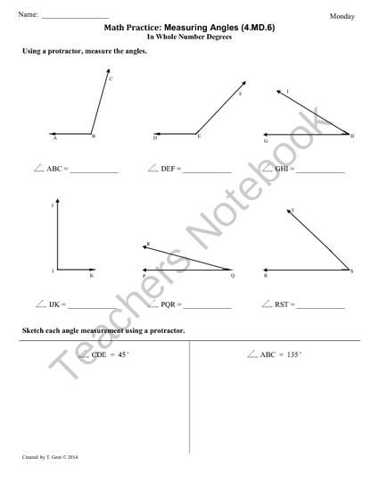 graphic relating to Protractor Printable Pdf identified as Measuring angles worksheet with protractor pdf